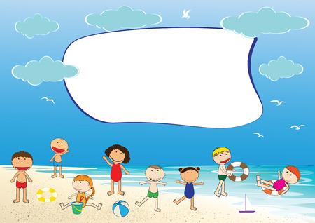 Happy girls and boys on the beach Vector
