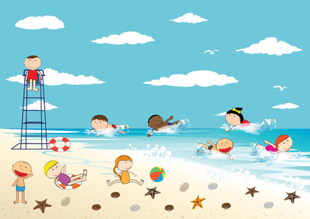 Happy girls and boys on the beach Vector