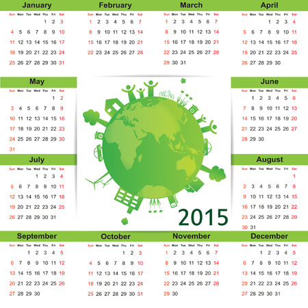 Cute green and ecology calendar on 2015 year Vector
