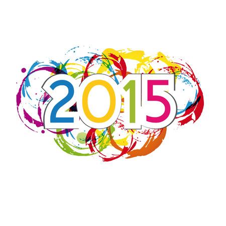 Leuke en kleurrijke kaart op Nieuw Jaar 2015 Stockfoto - 29267283
