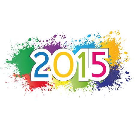 nieuwjaar: Leuke en kleurrijke kaart op Nieuw Jaar 2015 Stock Illustratie