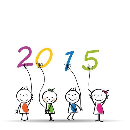 Leuke en kleurrijke kaart op Nieuw Jaar 2015 Stock Illustratie