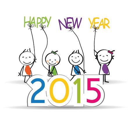 bambini felici: Carino carta e colorato sul Capodanno 2015 Vettoriali