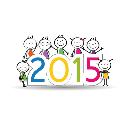 Cute and colorful card on New Year 2015 Ilustracja