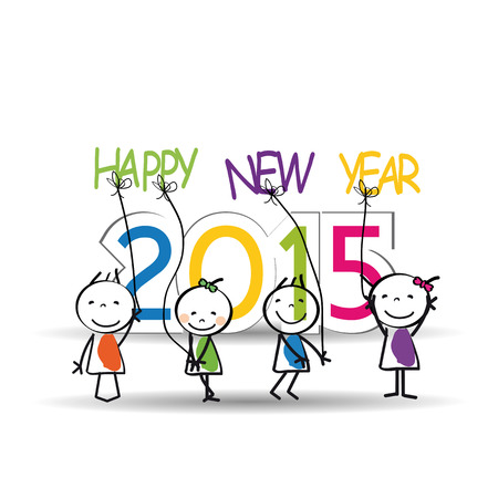 Cute and colorful card on New Year 2015 Vector