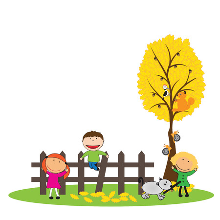 Happy girls and boys and colorful leaves Vector