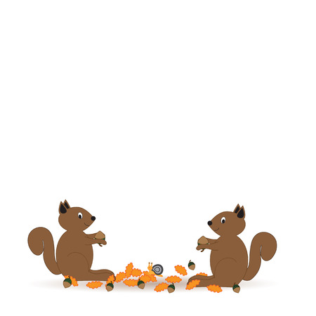 colorfu: Colorfu and abstract autumn with happy squirrels Illustration