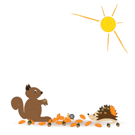 Colorfu and abstract autumn with happy squirrel Vector