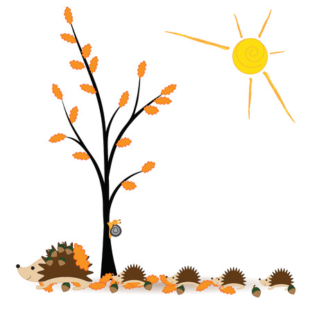 cartoon hedgehog: Colorful, abstract autumn with happy family hedgehog