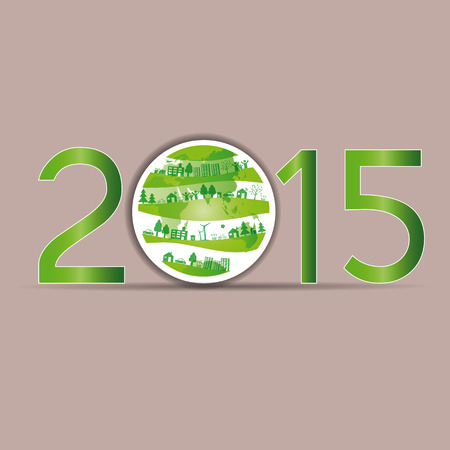 Cute card on 2015 year with green globe Vector
