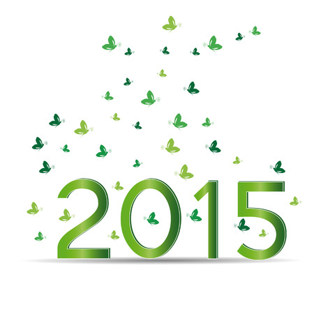 Cute card on 2015 year with green sets Vector