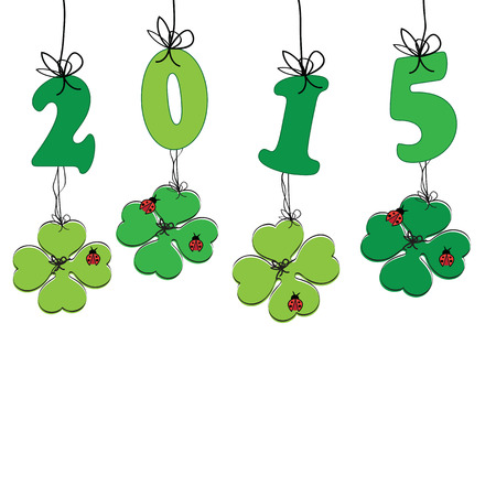 fourleaf: Cute and colorful card on New Year 2015 Illustration