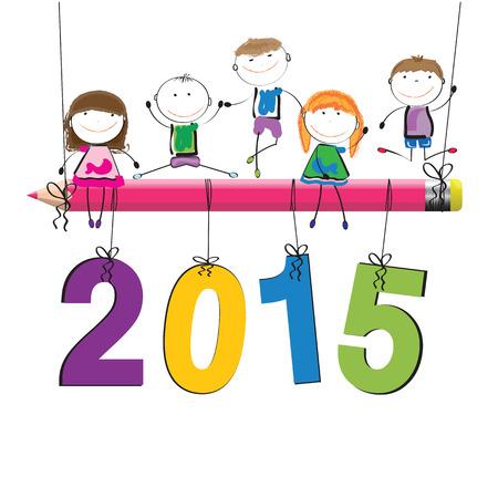 자손: 새로운 2015 년에 귀여운 다채로운 카드 일러스트