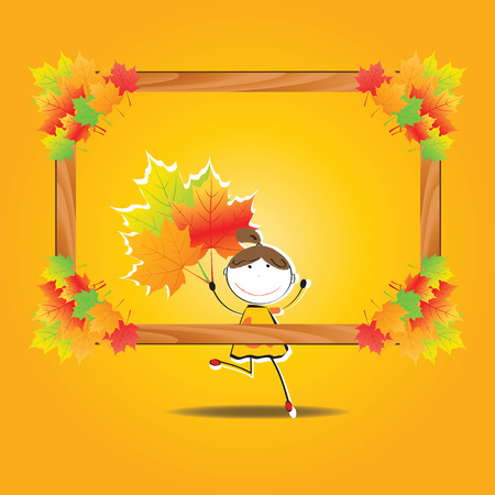 Colorful and cute background with autumn elements Illustration
