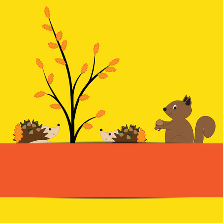 Colorful and cute border with autumn elements Vector