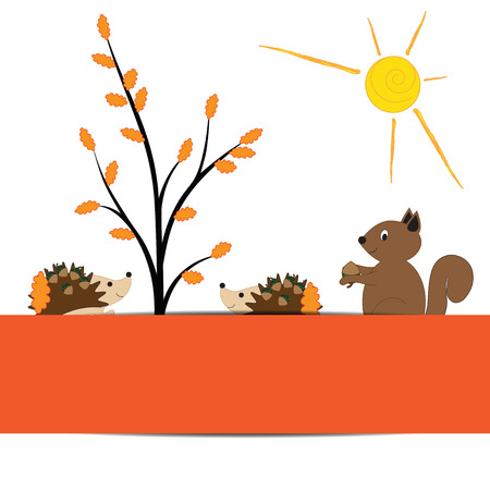 cute border: Colorful and cute border with autumn elements