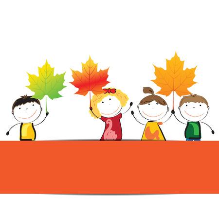 cute border: Bordo colorato e carino con elementi di autunno