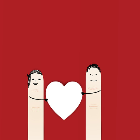 young relationship: Abstarct and simple card showing happy couple fingers