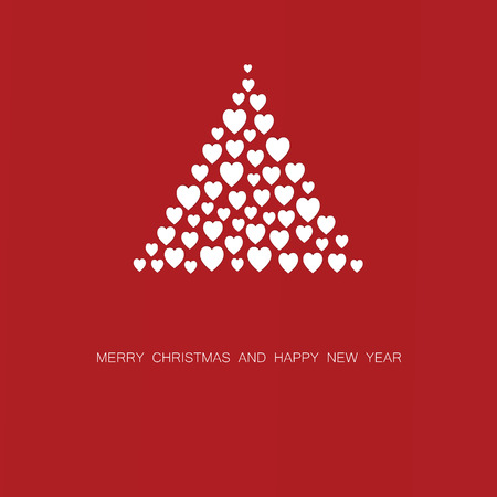 Simple and cute Christmas card with abstract Christmas tree Vector
