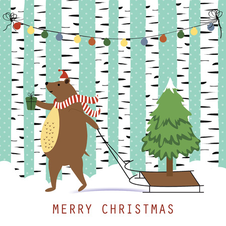 brown: Cute and funny Christmas card with brown happy bear Illustration