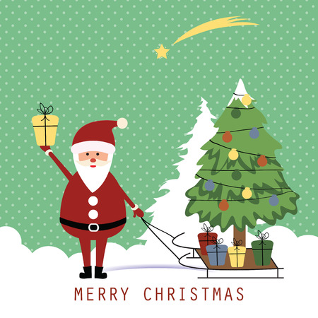 Cute christmas card with Santa and Christmas tree Illustration