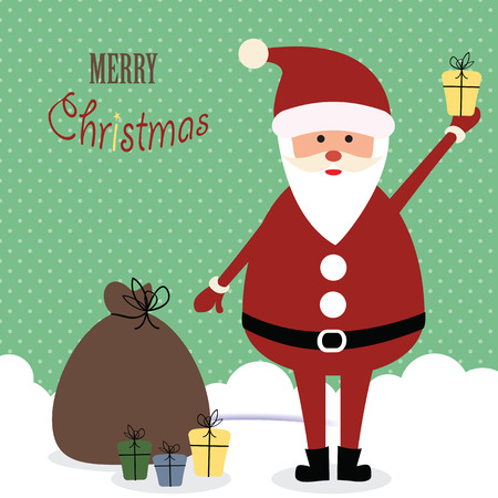 Cute christmas card with Santa and presents