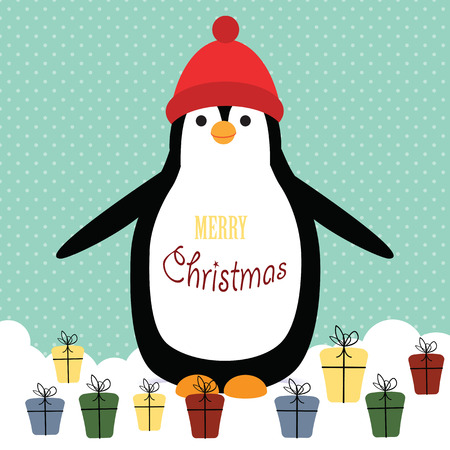 Cute christmas card with penguin and presents Illustration