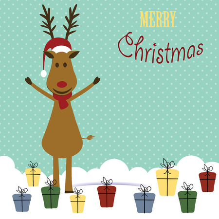 Cute christmas card with reindeer and presents Illustration