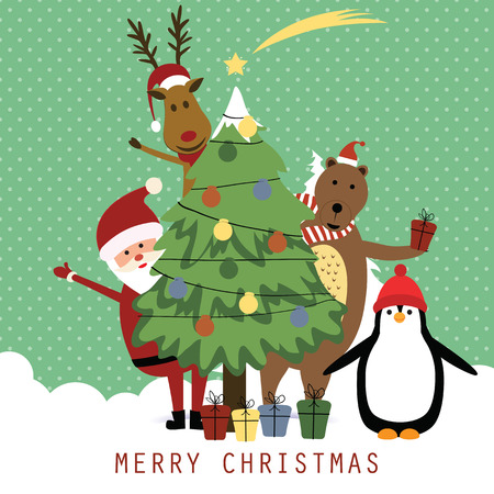 Cute christmas card with Santa, reindeer, bear and penguin