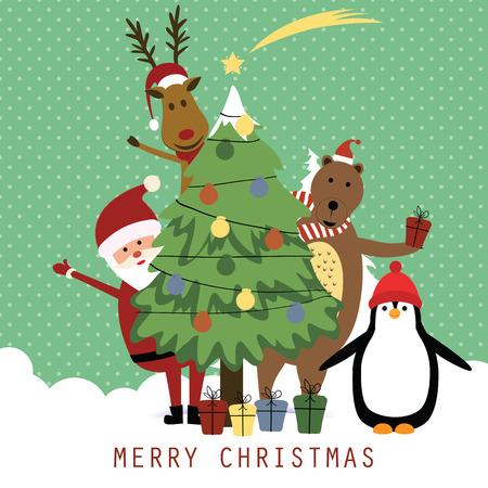 Leuke kerstkaart met de kerstman, rendieren, beer en penguin Stock Illustratie