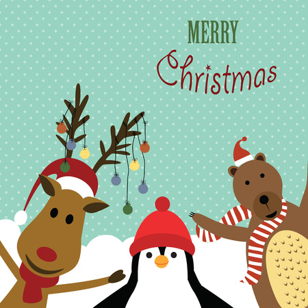 Cute christmas card with reindeer, bear and penguin Illustration