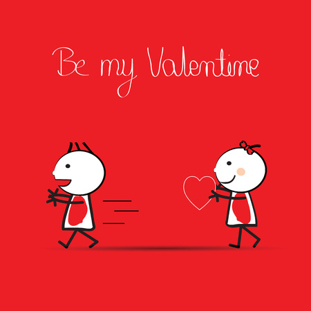 occasion: valentines day illustration with boy and girl