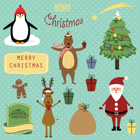 Cute christmas background with Santa, reindeer, bear and penguin