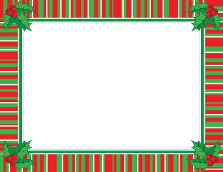 bright borders: Cute Christmas frame in red and green color