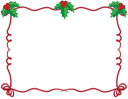Cute Christmas frame in red and green color Vector