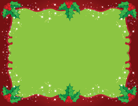 folkart: Cute Christmas frame in red and green color