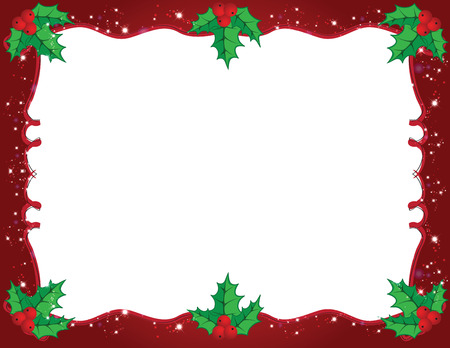 Cute Christmas frame in red and green color