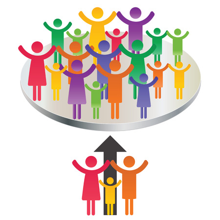 group  join: Abstract and simple pictogram showing a family meeting.
