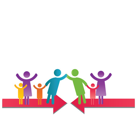 Abstract and simple pictogram showing a family meeting.