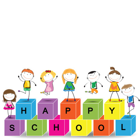 Card with happy kids and colorful blocks Vector