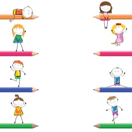 Kaart met gelukkige kinderen en kleurrijke krijtjes Stock Illustratie