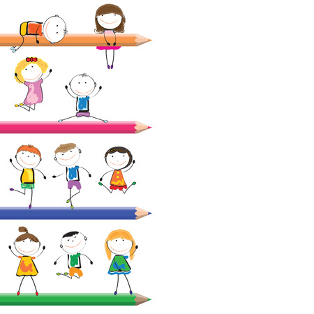 Card with happy kids and colorful crayons Vector