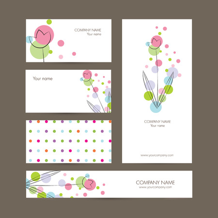 Cute business elements - cards, banner and folder Vector