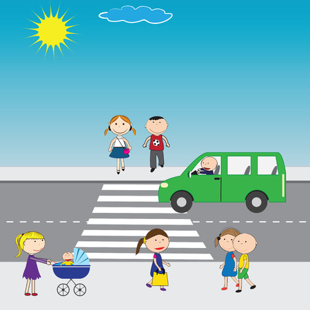school yard: Illustration of people crossing the street in the city