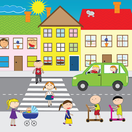 Illustration of people crossing the street in the city