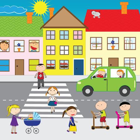 Illustratie van mensen die de straat in de stad Stock Illustratie
