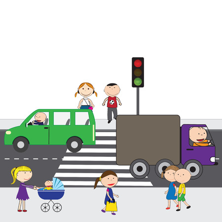 Illustration of people crossing the street in the city Stock Vector - 33574674