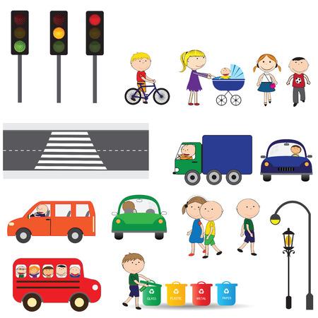 Street elements - road, zebra, traffic ligts, buildings, cars Vector