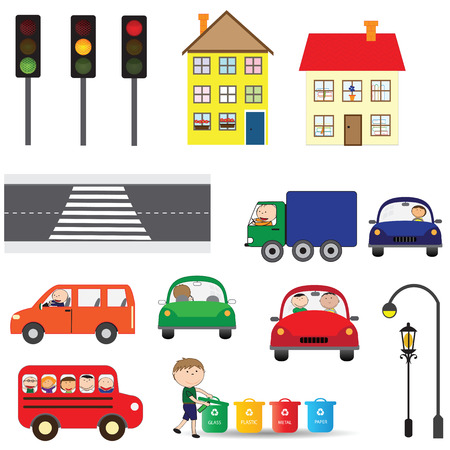 Street elements - road, zebra, traffic ligts, buildings, cars Vector