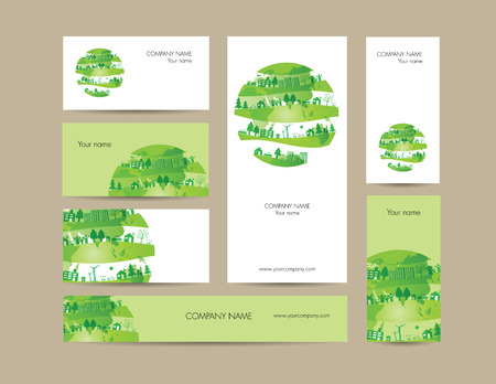 identity protection: Cute business elements - cards, banner and folder
